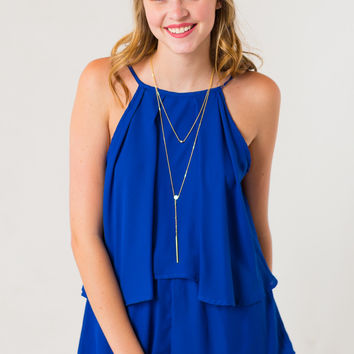 Take the Field Romper in Blue