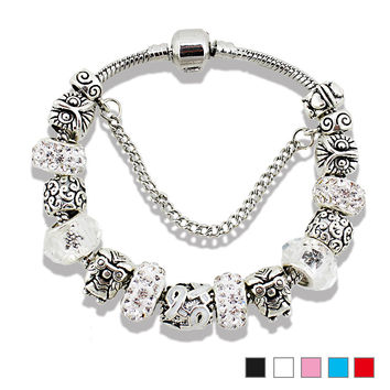 Clear Plated Silver Owl Glass Beads Bracelets & Bangles for women Charm Jewelry with High Quality DIYFine or Fashion PB15106