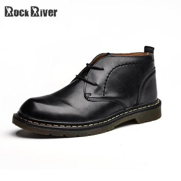 2018 Fashion Leather Boots Men Black Motorcycle Ankle Boots Doc Dr Martins Shoes Man Botas Hombre Dr. Martens Boots Dottor
