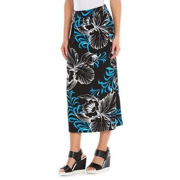 ESB7GX Dana Buchman Print Pleated Skirt - Women's Size