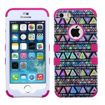 For Iphone 5S 5- Hybrid Triple Layer High Impact Tuff Verge Shield Heavy Duty Hard Cover Fitted Soft TPU Skin Case Protector + Clear LCD Screen Protector Shield Guard + Touch Screen Stylus Pen (Teal Floral Rose / Pink Verge)