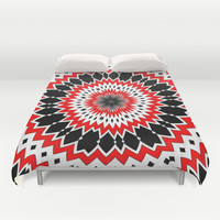 Bizarre Red Black and White Pattern Duvet Cover by Taiche