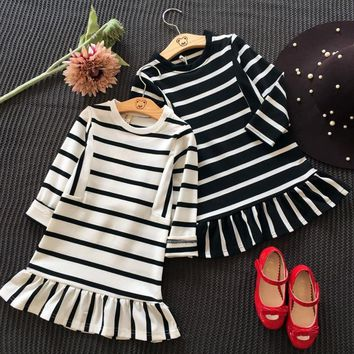 New Arrival Autumn Baby Girl Stripe Design Princess Dress Clothes Long Sleeve Cotton Mermaid Dress Toddler Clothes 3-7 Years Old