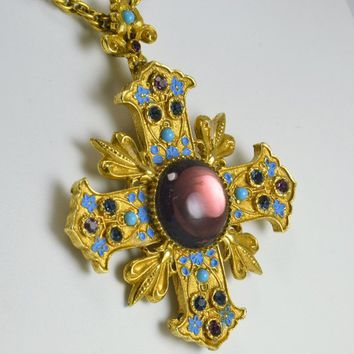 ART Maltese Cross Pendant Necklace Brooch - Arthur Pepper - Amethyst Blue Rhinestone Enameled - Vintage 1960s Egyptian Revival