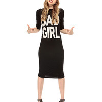 Letter Graphic Print Long Sleeves Cutout Back Twist Dress