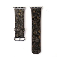 Black and Gold Embossed Printed Leather Watch Band Strap for Apple Watch