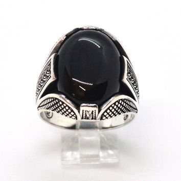 (2-5275-h9) Sterling Silver Men's Oval Black Onyx Ring.