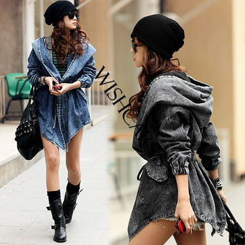 Women's Denim Trench Coat Hoodie Hooded Outerwear Jeans Jacket Coat 8629 = 1930373956