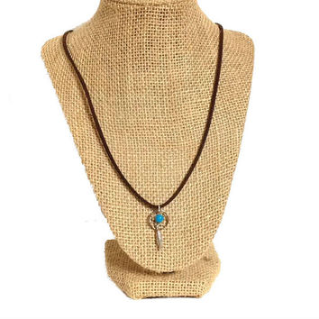 Boho suede leather silver small dreamcatcher turquoise feather pendant necklace, suede leather cord silver charm feather long necklace, gift