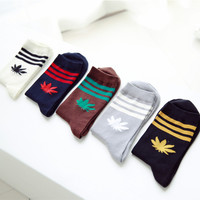 Men Leaf Fashion Cotton Socks [9259025476]
