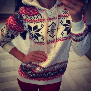 Women Hoodie Sweatshirt Jumper Sweater Pullover Top Coat Christmas Hoody 2Colors [9819073551]