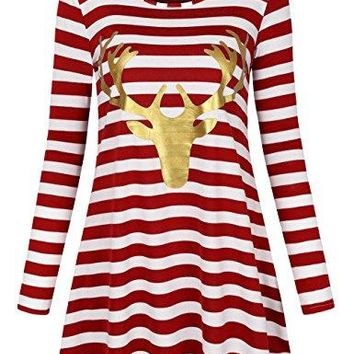 Women's Christmas  Regular and Deer Tunic Striped Pattern T-Shirt Loose Casual Tops