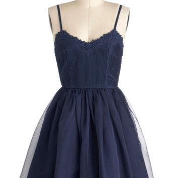 ModCloth Short Length Spaghetti Straps Ballerina Navy Too Late Dress