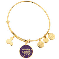 Disney Parks Tinker Bell Believing Charm Bangle Alex & Ani Gold New With Tags