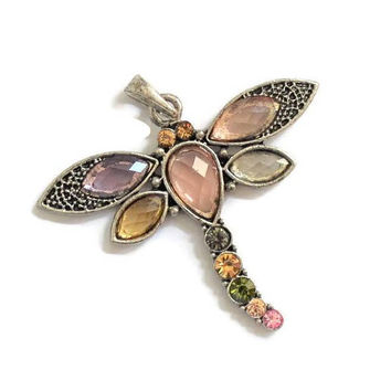 Colored Rhinestone Dragonfly Pendant Charm In Silver Tone