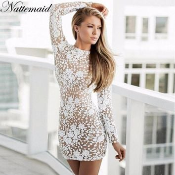 NATTEMAID Pencil Floral Hollow Out Lace Dress Casual Sexy Club Mini Dress 2018 Autumn White Dress Women Elegant Dress Vestidos