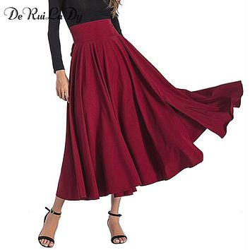 DeRuiLaDy 2018 Spring Autumn Women Black Blue Maxi Skirt vintage Retro High Waist Pleated Belted Long Skirts Back Bow Saias