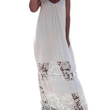 ZANZEA Women Summer Loose Sleeveless Insert Lace Long Beach Maxi Dress