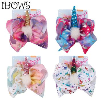 8'' Large Rainbow Unicorn Hair Bow White Pompom Horn Hair Clips For Girls Fashion Unicorn Party DIY Hair Accessories With Card