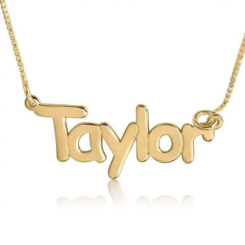 Name Necklace Gold Plated Name Chain Name Necklaces With Names Taylor Swift Nameplate Birthday Gift Names Necklace Taylor Name Necklace