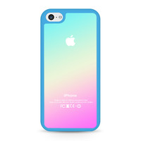 New Pink Aqua Apple Logo Gradient Ombre Silicone iPhone 5C case