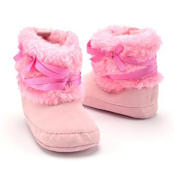 Cute Kids Cotton Cloth Boots Newborn Baby Girls Winter Warm Anti Slip Snow Boots Infant Solid Bowknot Shoes for 0-18M