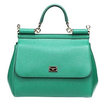 DOLCE & GABBANA womens leather hand bag SICILY green