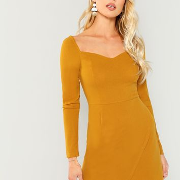 Ginger Wrap Sweetheart Solid Dress