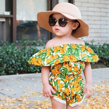 Baby Girl One Piece Romper Jumpsuit with Flowers