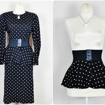 black & white polka dot pouf slv detachable peplum ruffle skirt belt midi dress vintage 1980s