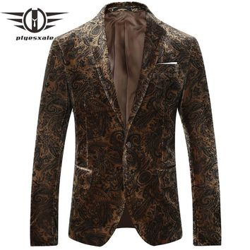 Brown Blazer Men Slim Fit Men Velvet Blazers Printed Suit Jacket Vintage Blazers