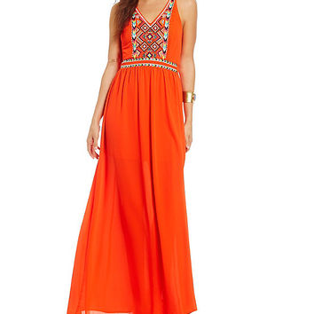 GB Embroidered Halter Maxi Dress | Dillards