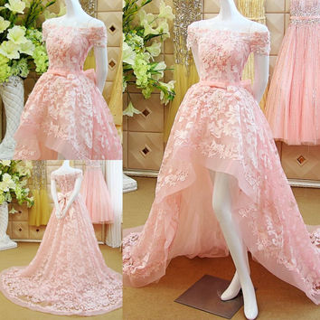 bows pink lace long Prom Dresses ball gown 2015 new hot sexy cap sleeve boat neck appliques vestido de festa flowers sequined