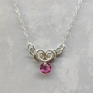 Silver Wire Sculpted Round Pink Rose Crystal Pendant Necklace