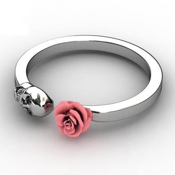Skull Womens Punk Rock Ring Charm Inlaid Red Rose