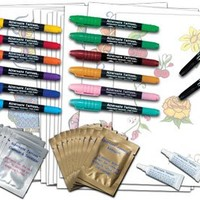 Temporary Tattoo Pen Kit - 36 piece Set (create your own tattoos)