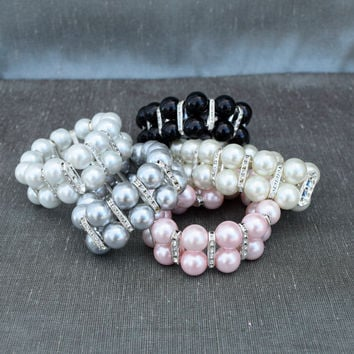 Large Pearl Bracelet with Rhinestone Accents