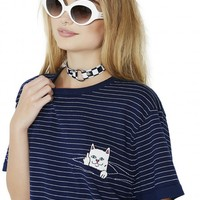 Navy Peeking Nermal Stripe Tee