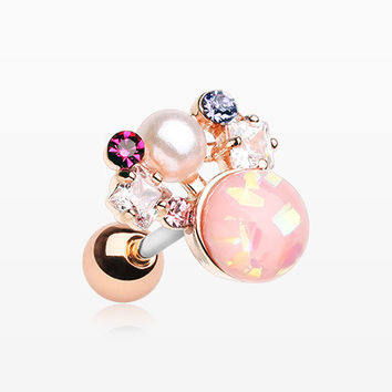 Rose Gold Opalescent Sparkle Pearl Ray Cartilage Tragus Earring