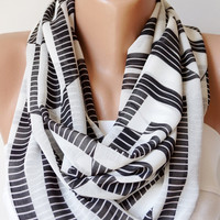 Grey and Black  Zebras Stripe Dancing....Chiffon... Scarf...Chevron....Infinity Loop Scarf