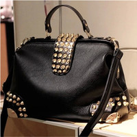 Womens Rivet Handbag PU Leather Shoulder Satchel Tote Purse Black Computer Bags