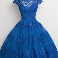 Royal Blue vintage Lace Ball Gown Short Prom Cocktail Dresses Cap Sleeves Knee Length Formal Cocktail Dresses Robe De Cocktail