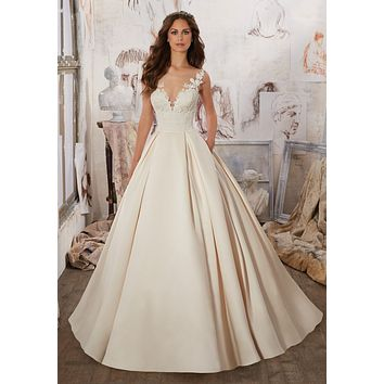 Blu by Morilee Marina 5501 Illusion Neckline Satin Ball Gown Wedding Dress