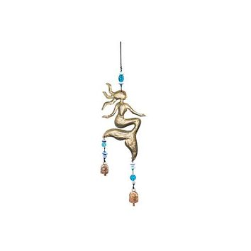 Sitting by the Ocean Mermaids Beads and Bells Wind Chime -- 18-in