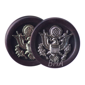"1 & 7/8"" (48mm) Silver Eagle Emblem in Katalox Wood Plugs #3743"
