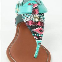 tribal print sandal with large buckle and multicolor bead
