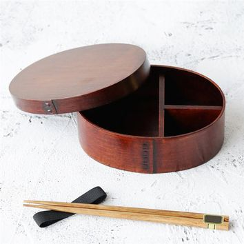 Japanese Wood Bento Box Elliptic Lunch Box Sushi Box Food Container for Picnicking Construction Site Camping Fishing Hiking