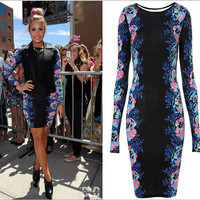 Creative Round-neck Black Long Sleeve Print Dress One Piece Dress [4918716356]