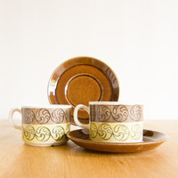 Rorstrand Gefle Ek Set of 2 tea cups and saucers
