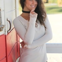 Taupe Long Sleeve Top with Lace Trim